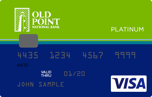 Blue and Green Old Point Credit Card with VISA logo